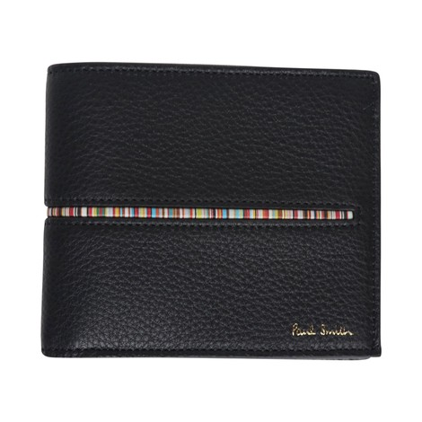 Paul Smith Leather Billfold Wallet With Signature Stripe Insert