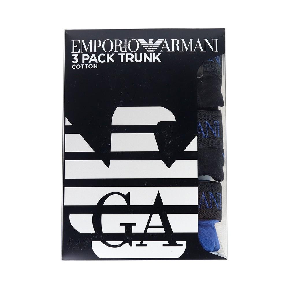 Emporio Armani 3 Pack Boxer Briefs EA Logo Blue
