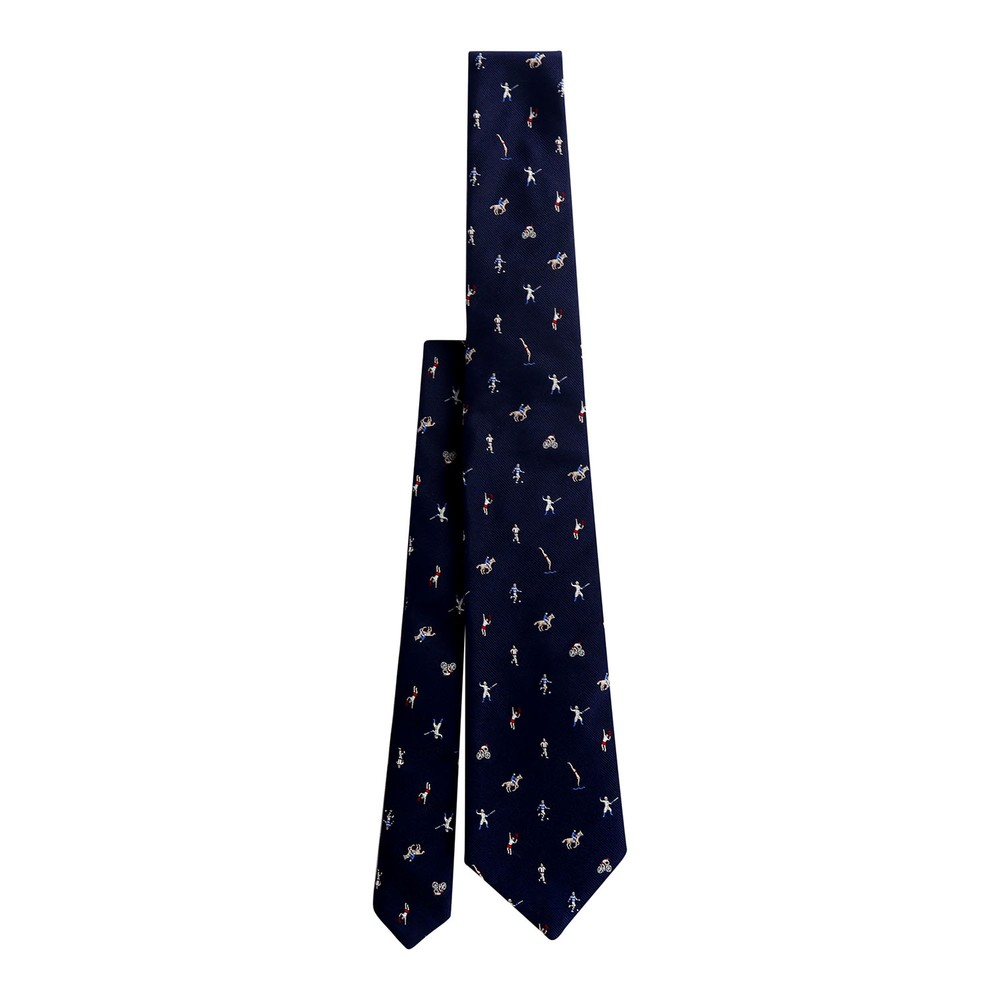Paul Smith Navy Embroidered Sports Figures Silk Tie Navy