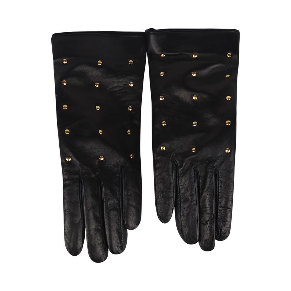 Marella Black Stud Leather Gloves Black