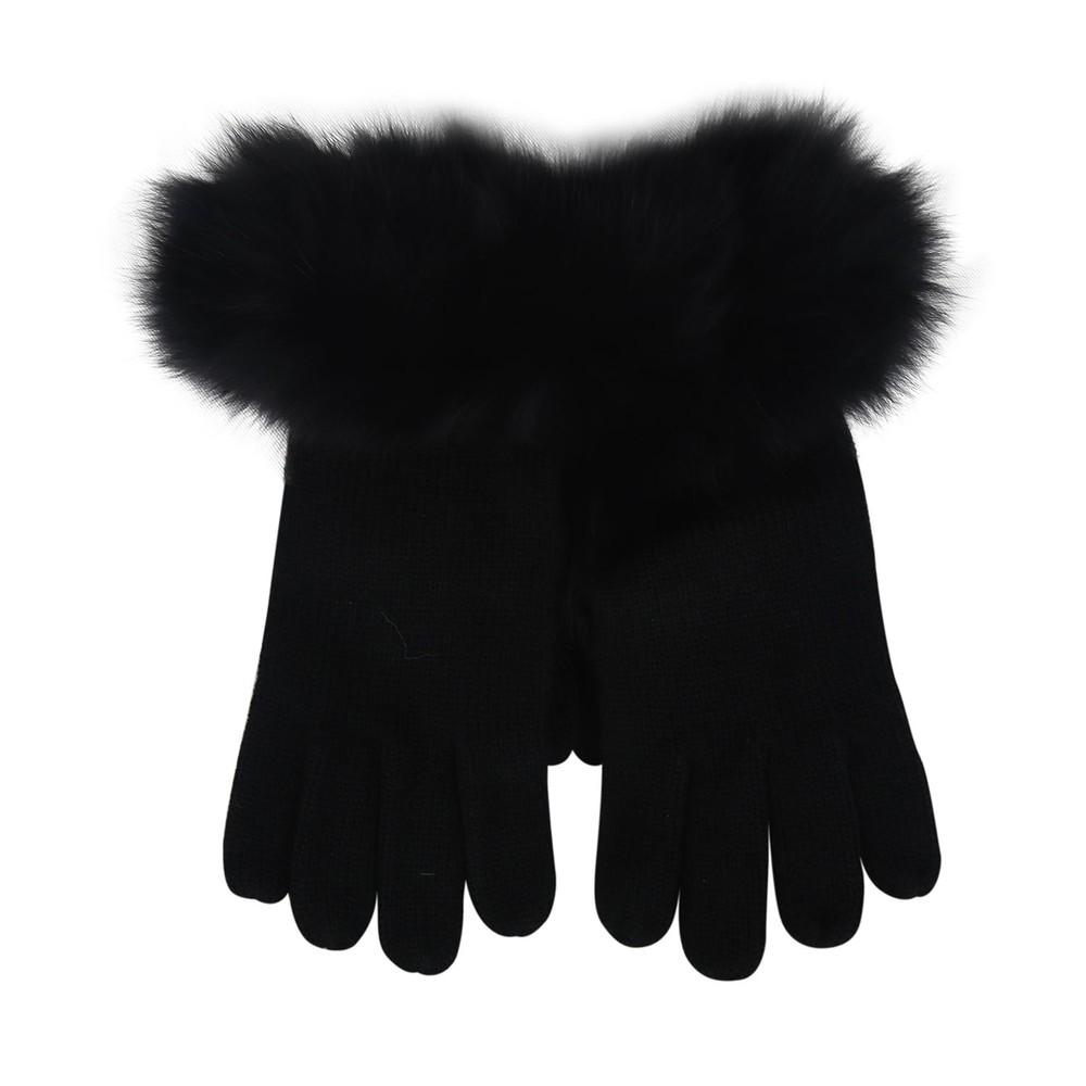 Marella Fur Trim Gloves Black