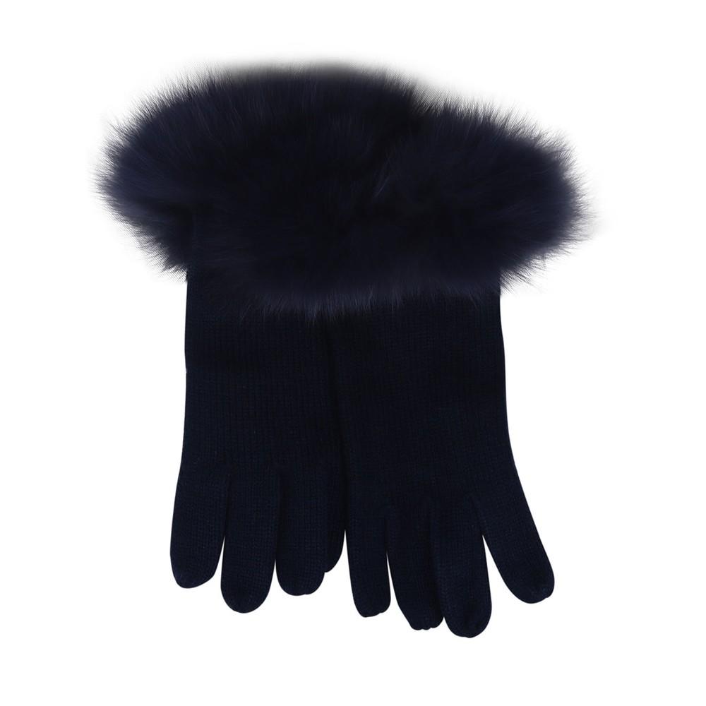 Marella Fur Trim Gloves Navy