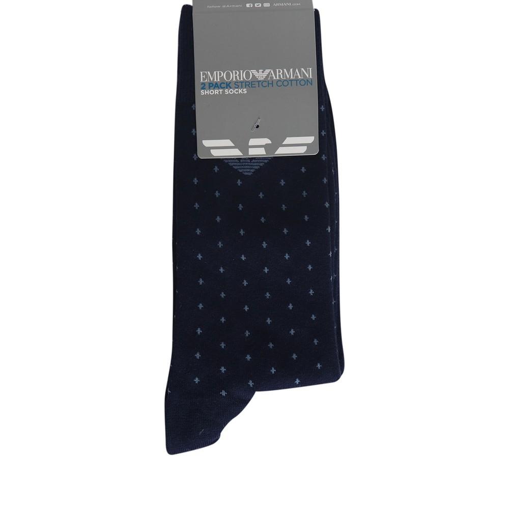 Emporio Armani Cross Stitch Eagle Socks - 2 Pack Navy