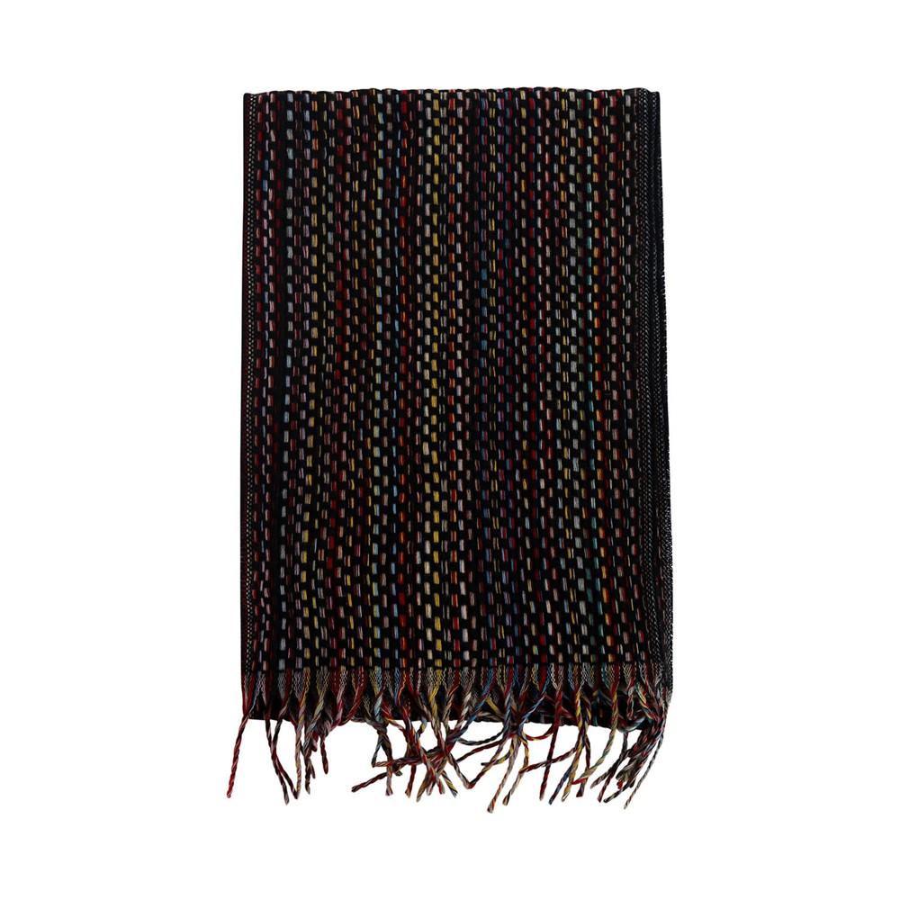 Paul Smith Basket Weave Signature Stripe Cashmere Scarf Black