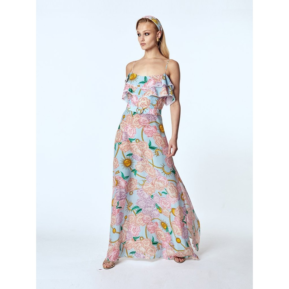 Hayley Menzies  Luna Flora Maxi Frill Dress Blue