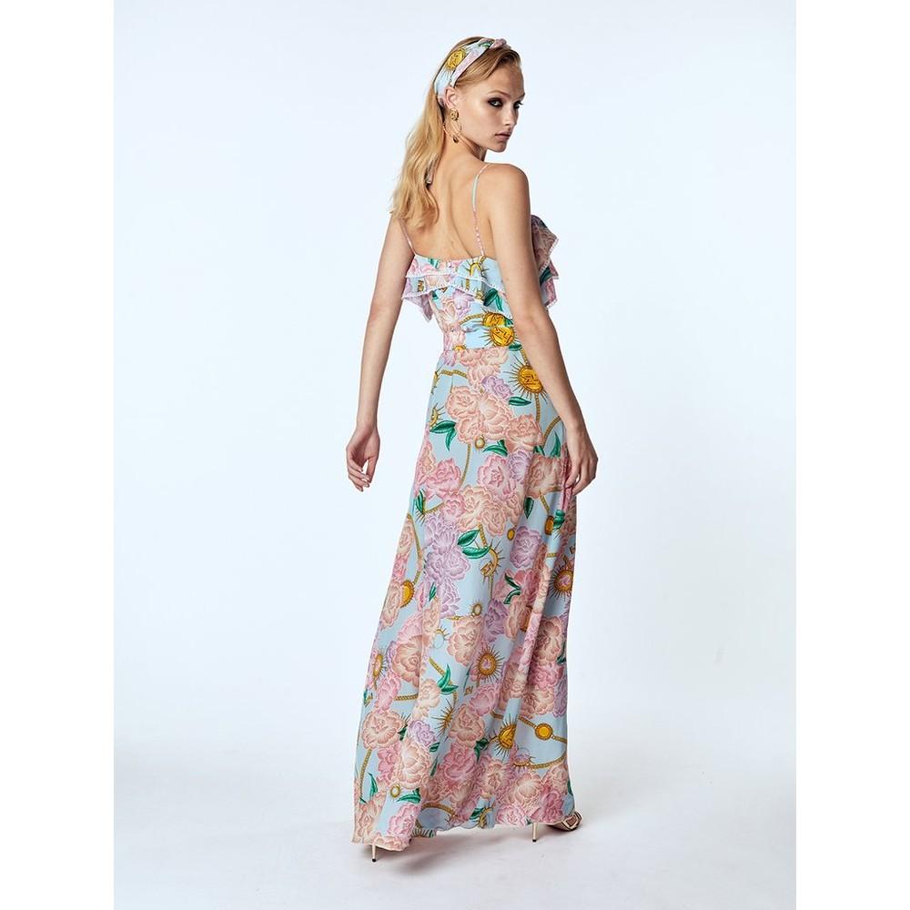 Hayley Menzies  Luna Floral Maxi Frill Dress Blue