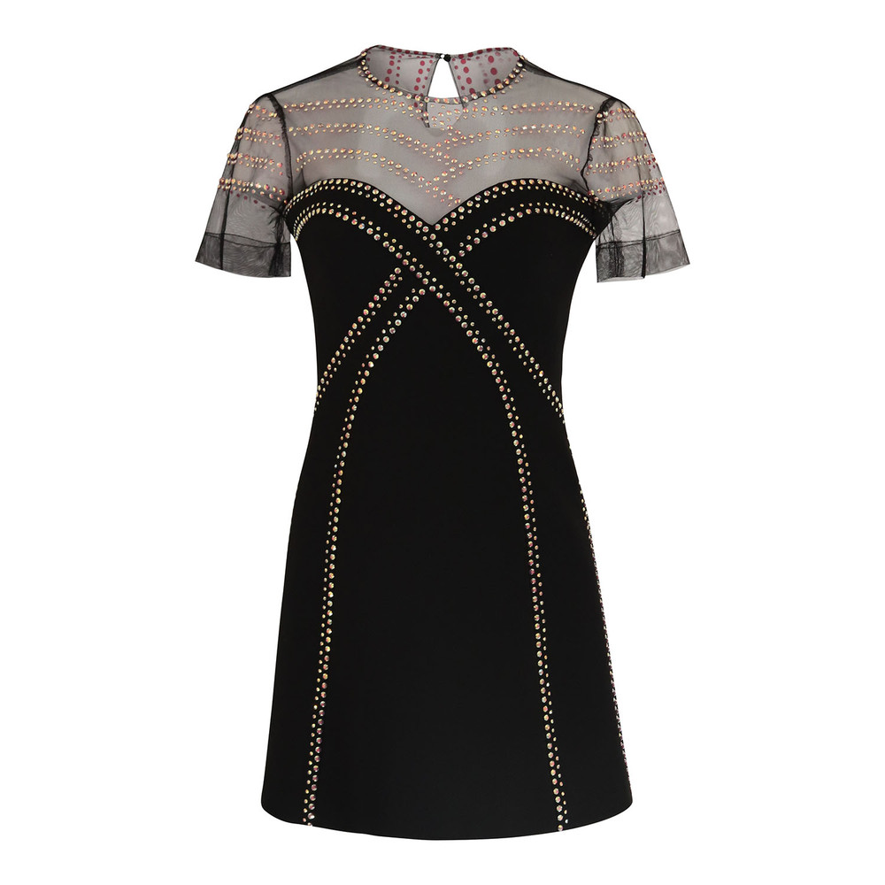 Versace Collection Short A-Line Dress with Crystals Black