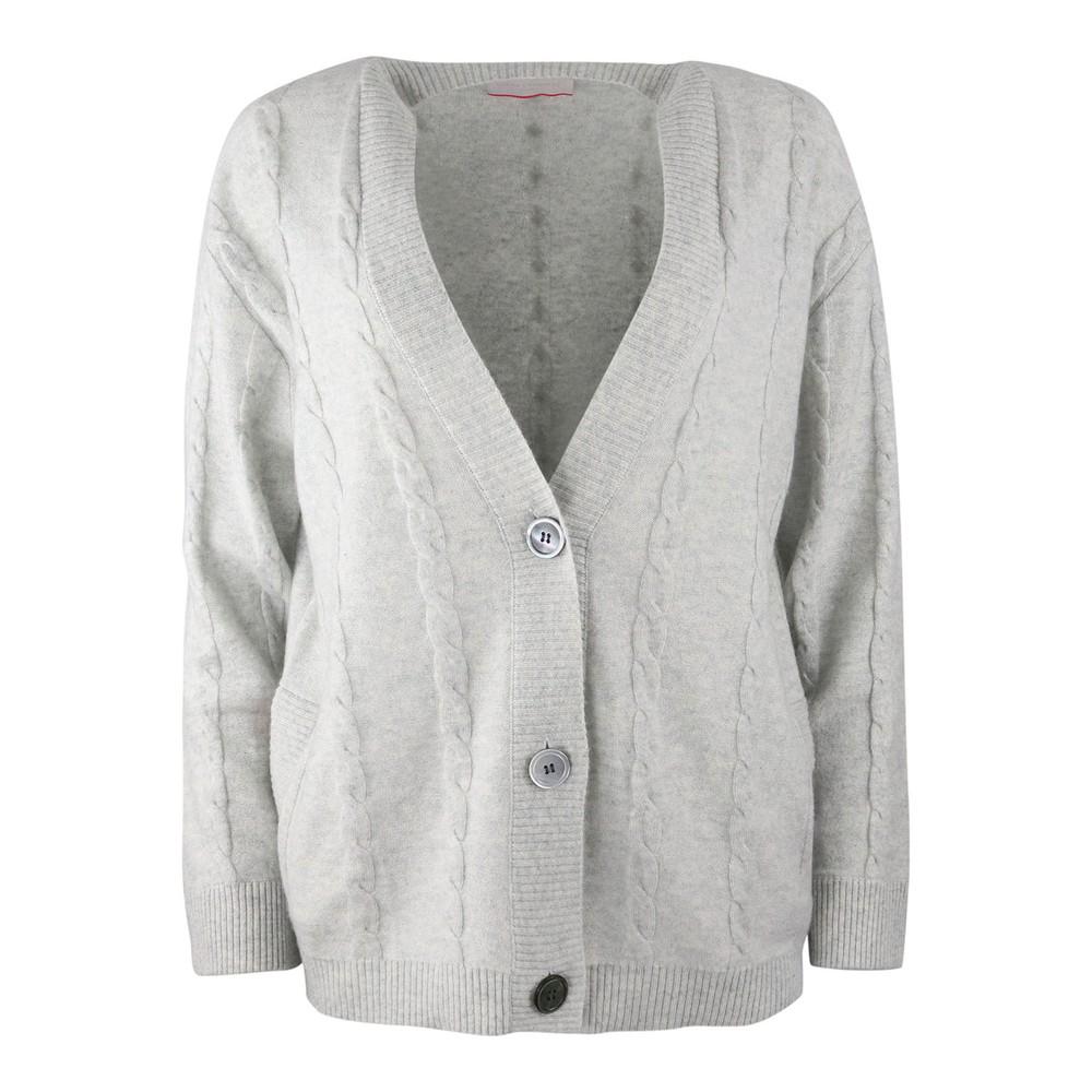 Cocoa Cashmere Matilda Stripe Cuff Cardigan Grey