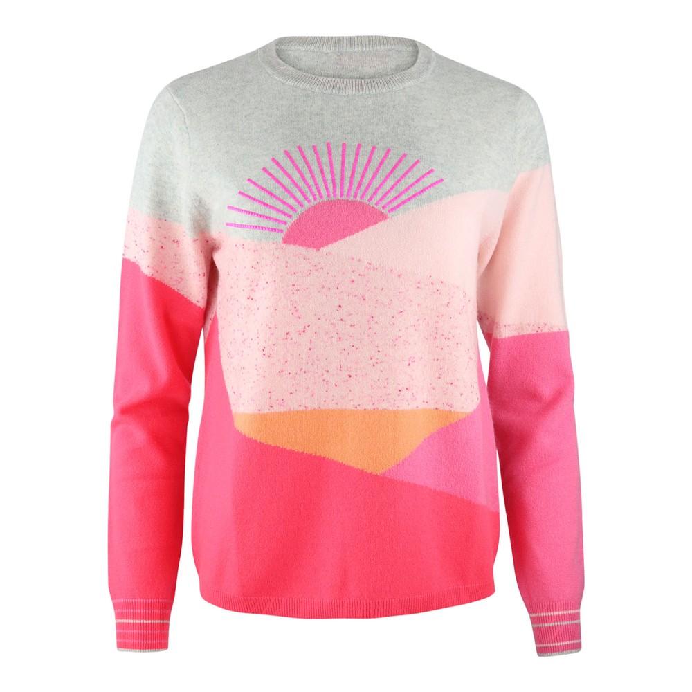 Cocoa Cashmere Savannah Sunset Knit Grey/Pink