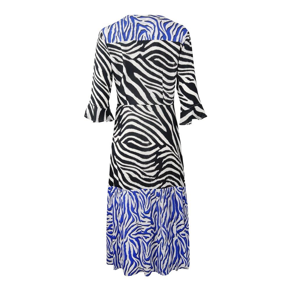 Pyrus Adele Zebra Print Dress Black and Blue