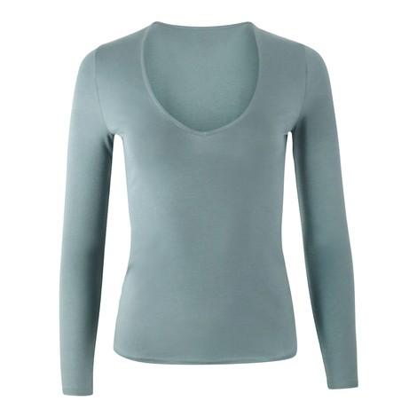J Brand Runway Long Sleeve V Neck T-Shirt in Teal