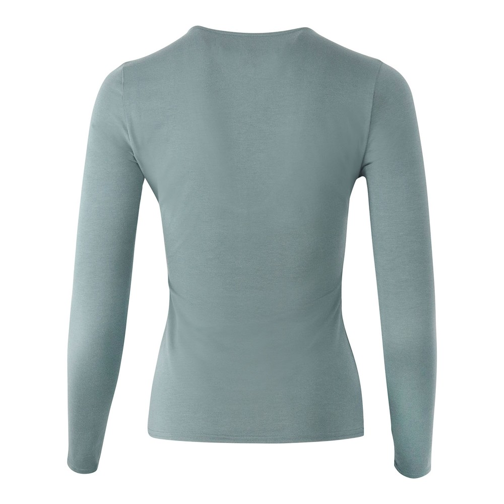 J Brand Runway Long Sleeve V Neck T-Shirt Teal