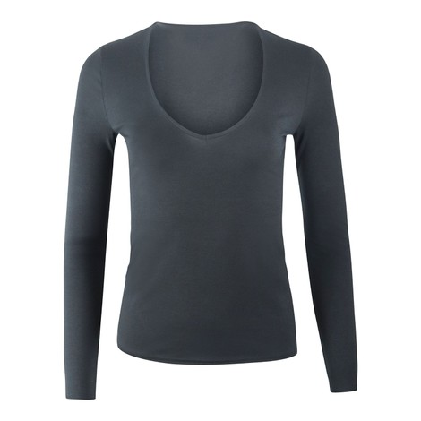 J Brand Runway Long Sleeve V Neck T-Shirt in Black