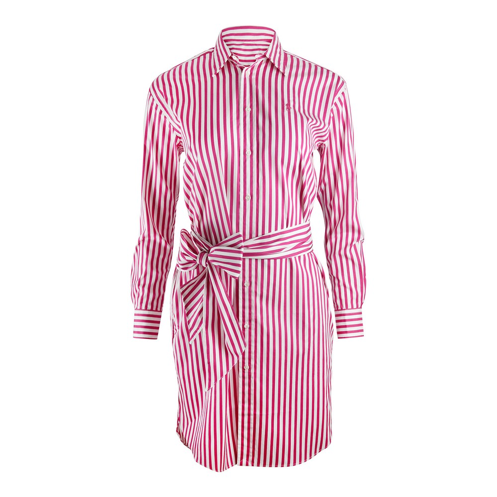 Ralph Lauren Womenswear Striped Shirt Dress Pink