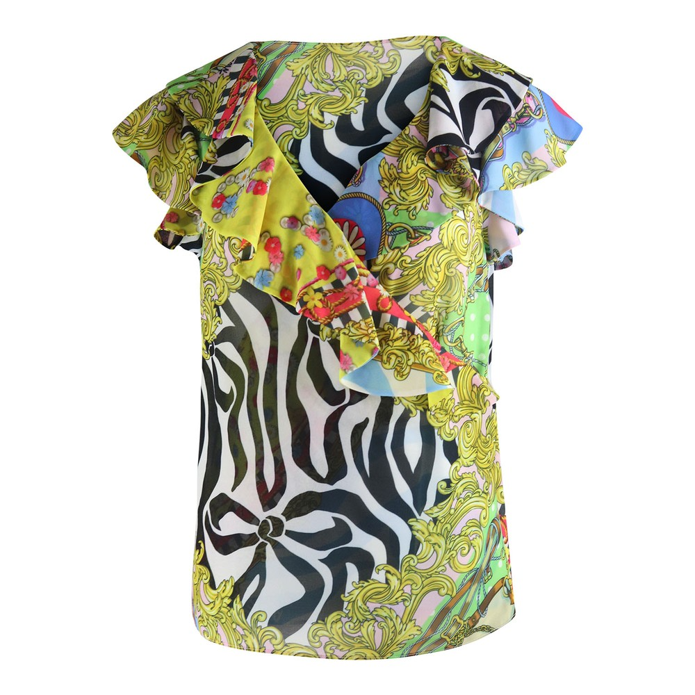 Moschino Boutique Scarf Print Short Sleeve Top Multi