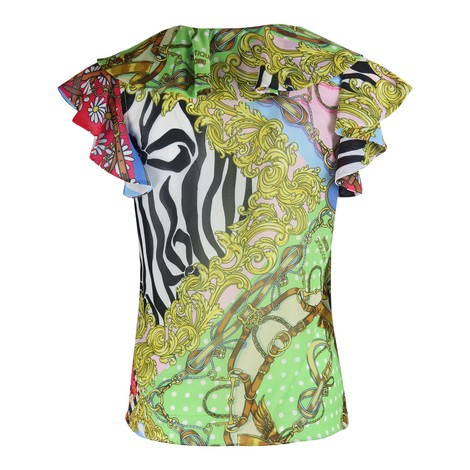 Moschino Boutique Scarf Print Short Sleeve Top