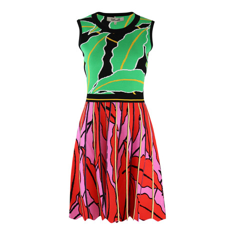 DVF Green and Red Sleeveless Knitted Dress