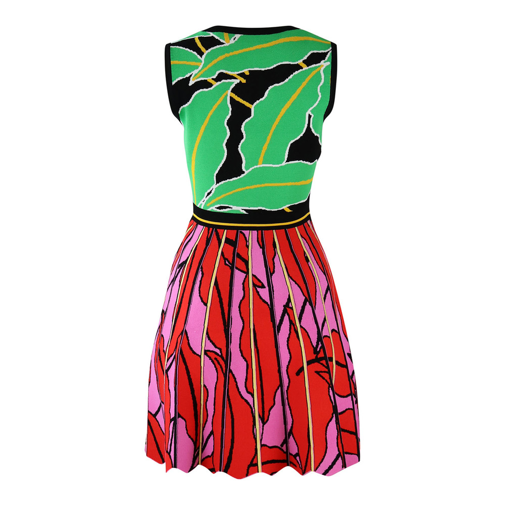 DVF Green and Red Sleeveless Knitted Dress Green and Red