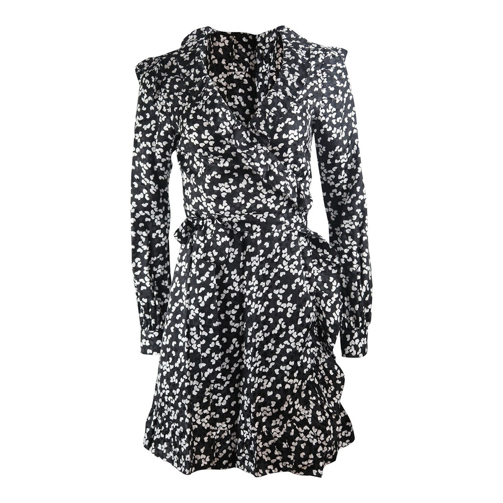 Michael Kors Long Sleeve Frilled Wrap Dress Black