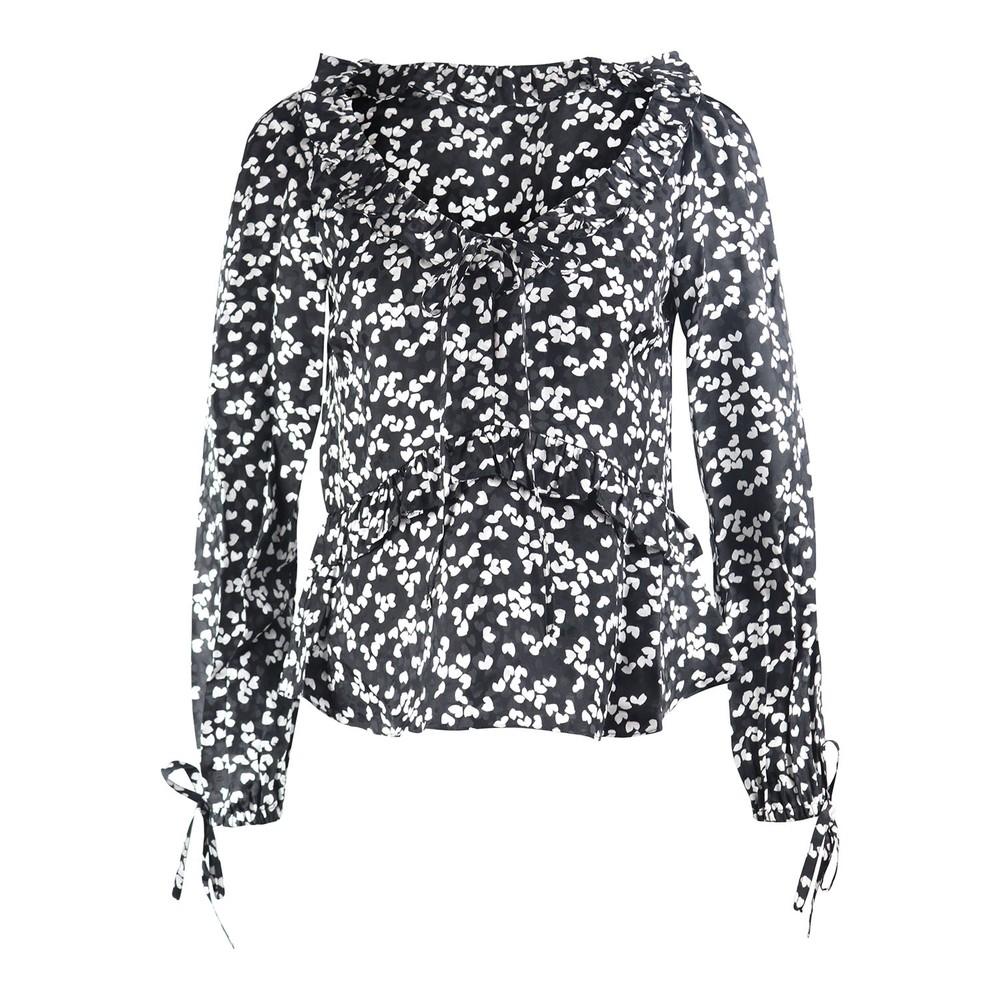 Michael Kors V Neck Top Black & White