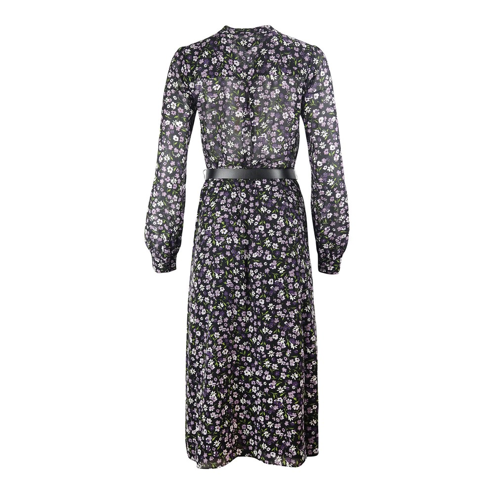 Michael Kors Long Sleeve Midi Shirt Dress Black