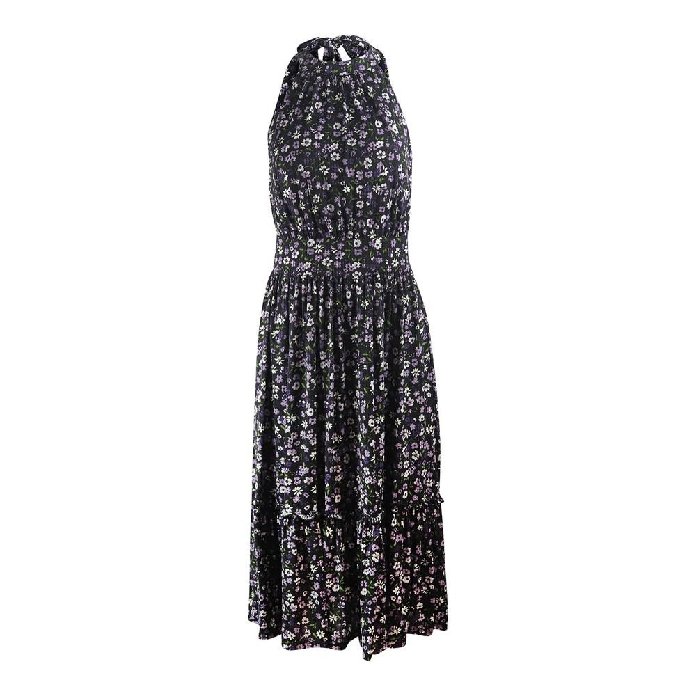 Michael Kors Sleeveless Tiered Midi Dress Black