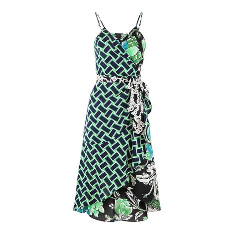 DVF Strappy Green and Black Tigerlily Dress