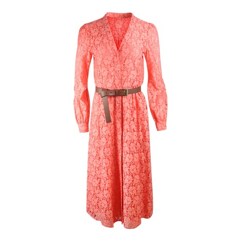 Michael Kors Long Sleeve Lace Midi Dress