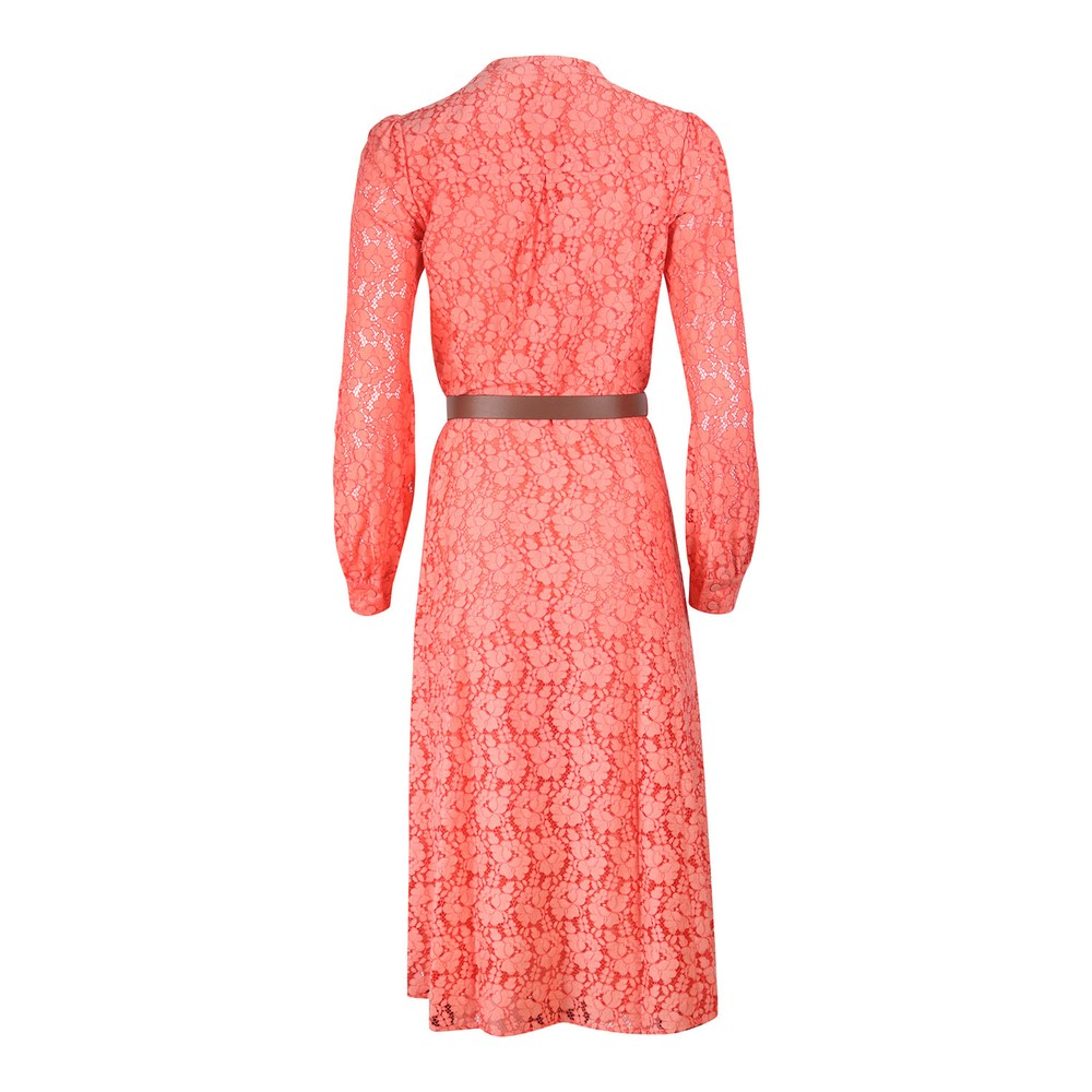 Michael Kors Long Sleeve Lace Midi Dress Coral