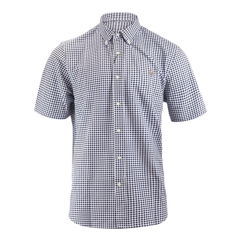 Ralph Lauren Menswear Short Sleeve 55/2 Oxford Pique Shirt Navy and White
