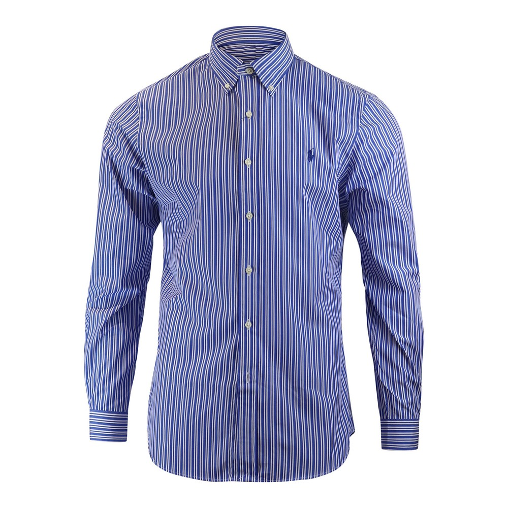 Ralph Lauren Menswear Long Sleeve Stretch Sport Shirt - Blue/White Stripe Blue and White