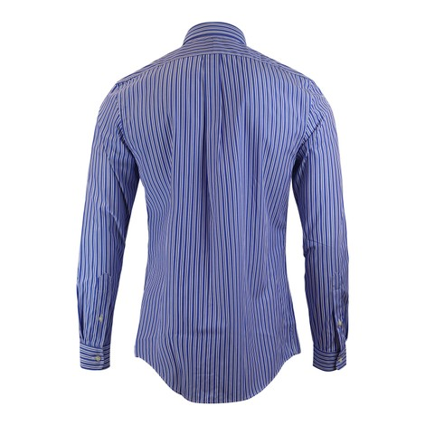 Ralph Lauren Menswear Long Sleeve Stretch Sport Shirt - Blue/White Stripe