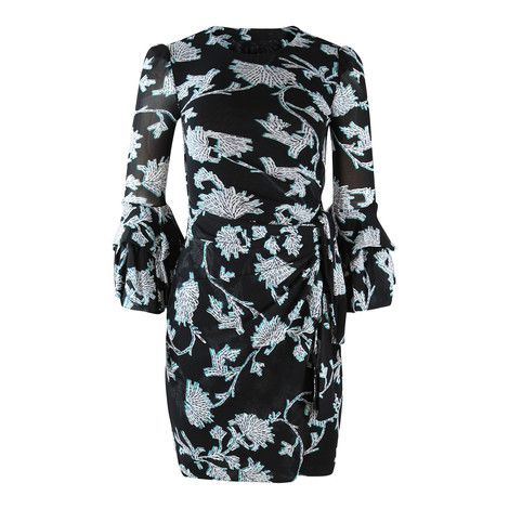 DVF Ruffle Sleeve Dress with Flower Print
