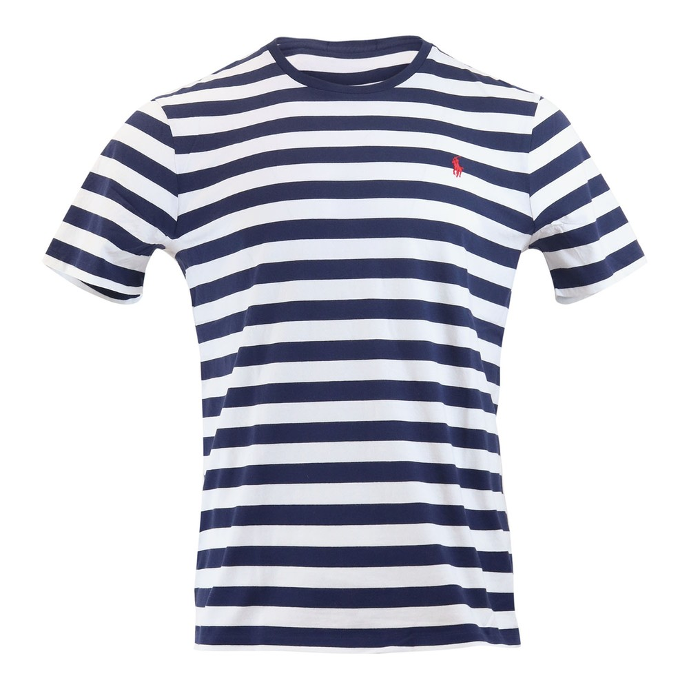 Ralph Lauren Menswear Short Sleeve 26/1 Jersey T-shirt - Stripe Navy and White