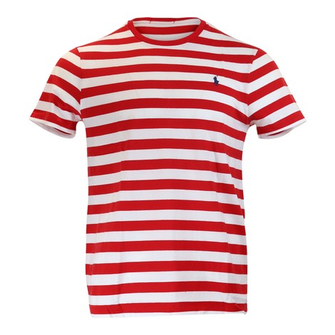 Ralph Lauren Menswear Short Sleeve 26/1 Jersey T-shirt - Stripe in Red and White