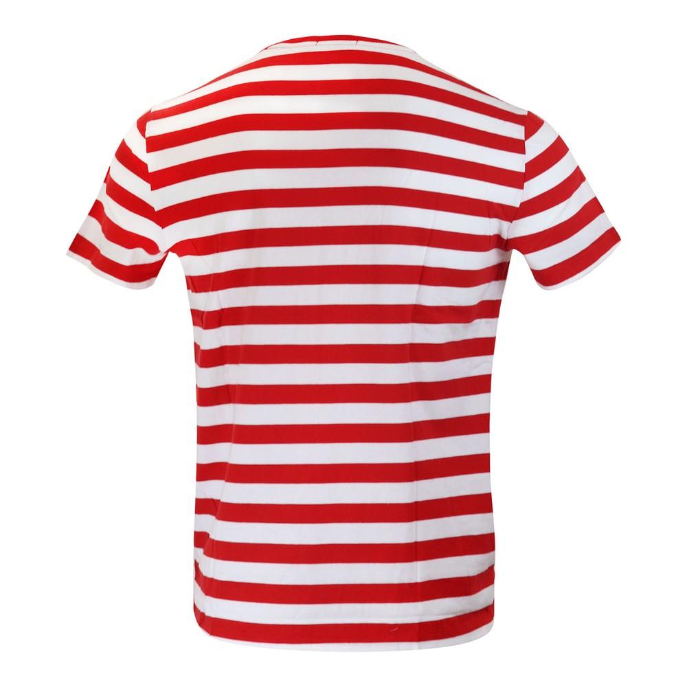 Ralph Lauren Menswear Short Sleeve 26/1 Jersey T-shirt - Stripe Red and White