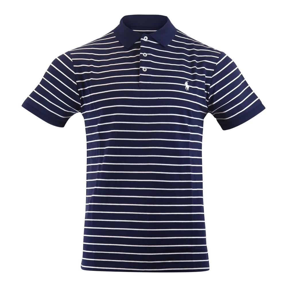 Ralph Lauren Menswear Stretch Mesh SS Polo Stripe Navy and White