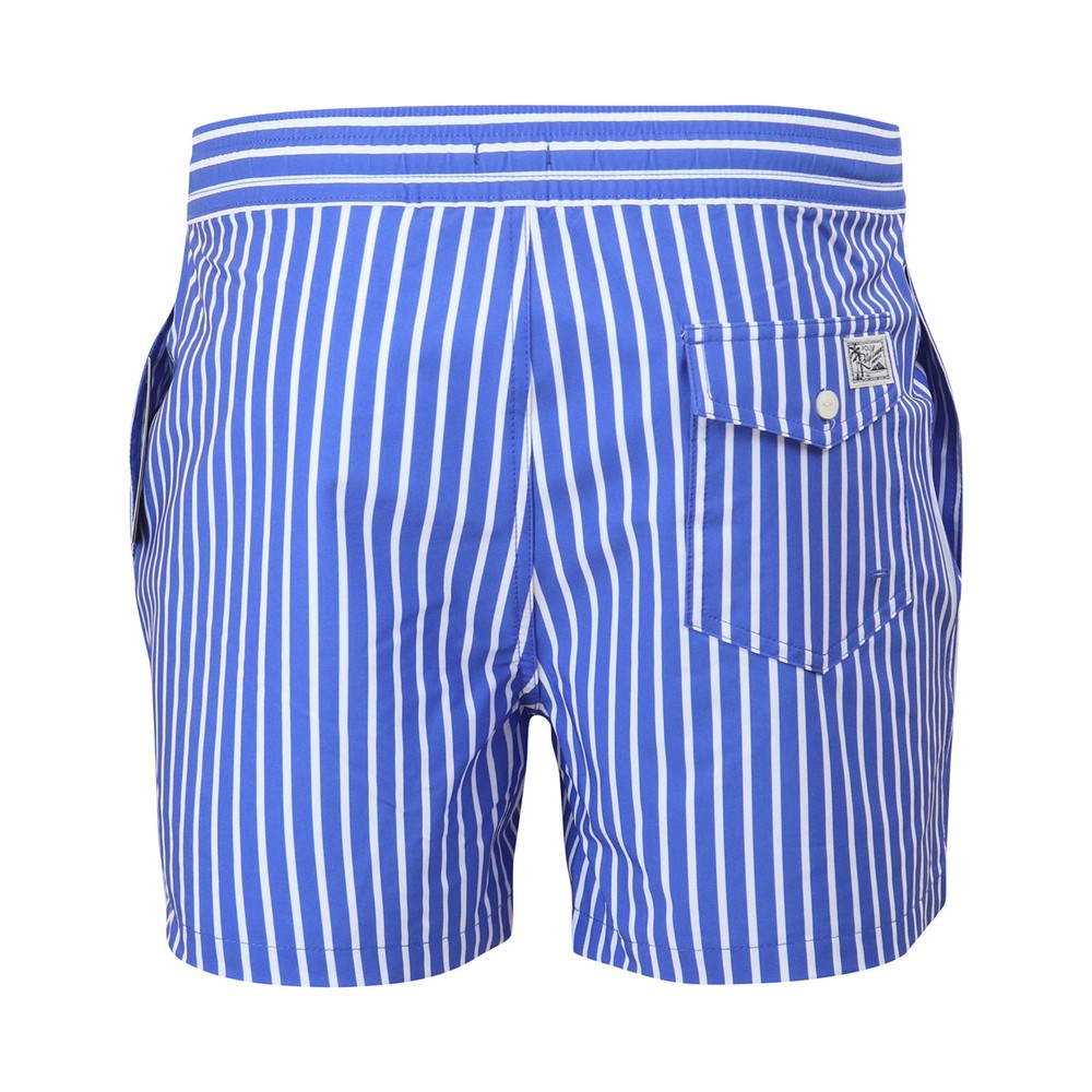 Ralph Lauren Menswear Slim Traveler Swim Shorts Blue Stripe
