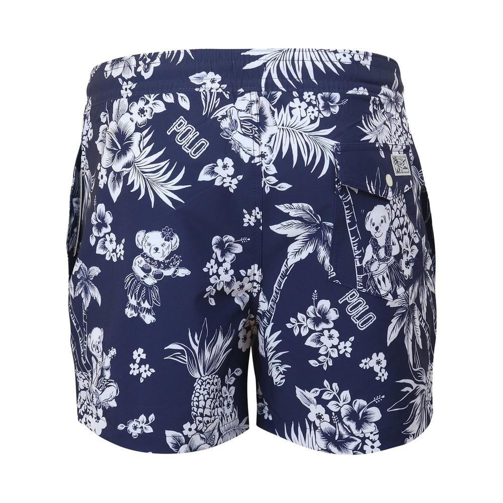 Ralph Lauren Menswear Slim Traveler Swim Shorts Navy/White