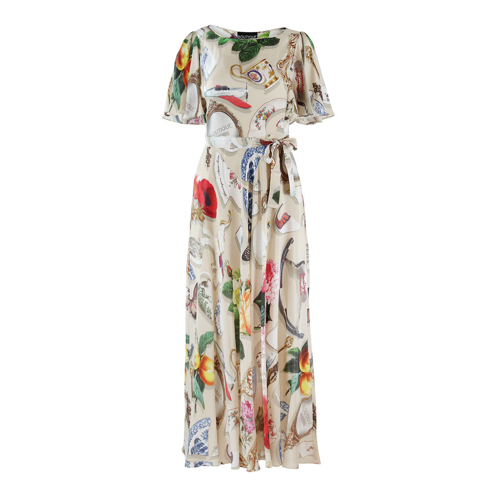 Moschino Boutique Short Frill Sleeve Maxi Dress in Broken China Print Beige