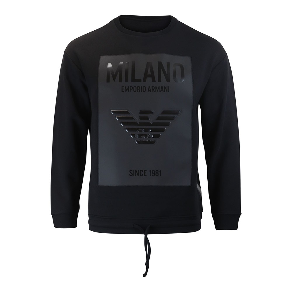 Emporio Armani Crew Neck With Rubber Logo Sweat Black