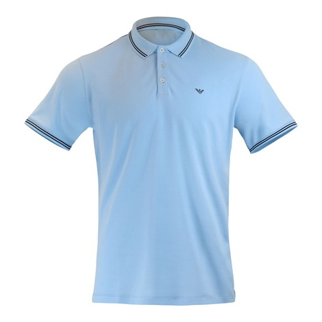Emporio Armani Short Sleeved Polo With Trim in Light Blue