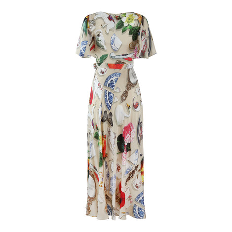 Moschino Boutique Short Frill Sleeve Maxi Dress in Broken China Print