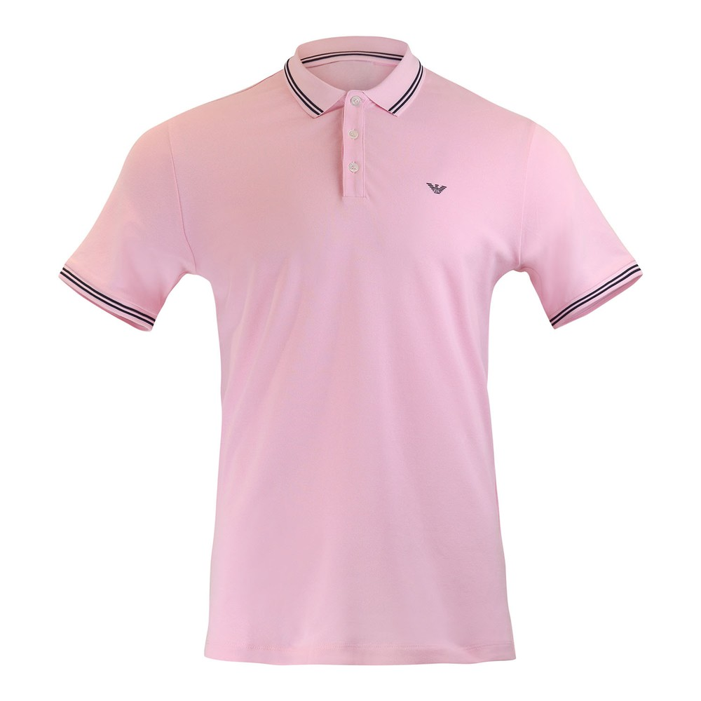 Emporio Armani Short Sleeved Polo With Trim Pale Pink
