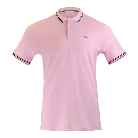 Emporio Armani Short Sleeved Polo With Trim in Pale Pink