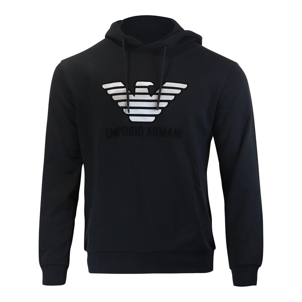 Emporio Armani Hoody With Velvet Logo Black