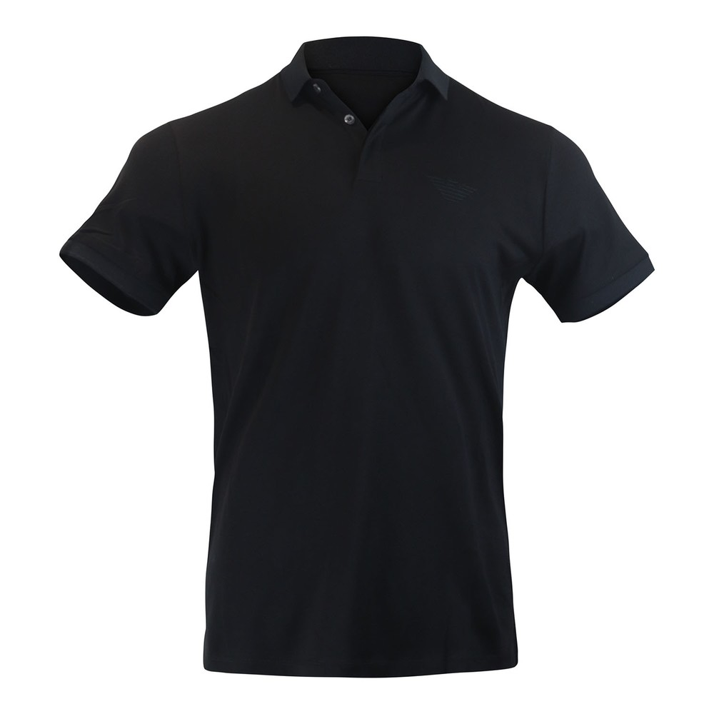 Emporio Armani Short Sleeved Pima Cotton Polo Black
