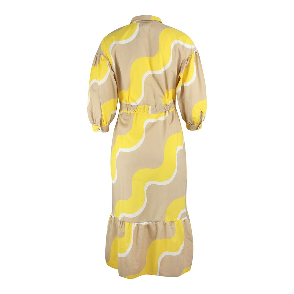 Chinti & Parker Wave Shirt Dress Yellow