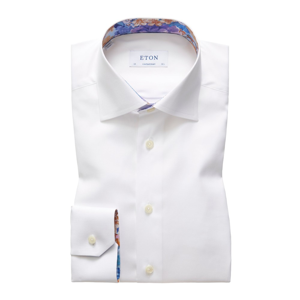 Eton Contemporary Fit Shirt With Flower Collar Trim White