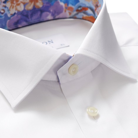 Eton Contemporary Fit Shirt With Flower Collar Trim